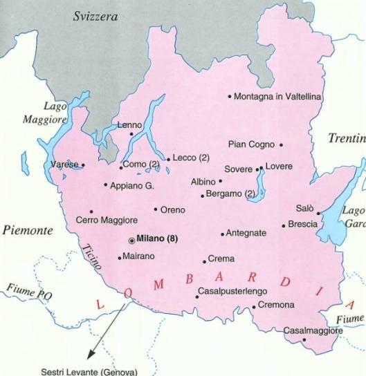 Province Lombardia Cartina.I Frati Cappuccini In Lombardia